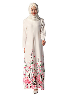 tanie Etniczne & Cultural Kostiumy-Etniczny i religijny Jalabiya Sukienka Kaftan Abaya Arabian Dress Damskie Festiwal/Święto Kostiumy na Halloween White Kwiaty Ethnic Style