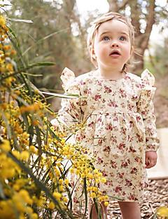 billige Babykjoler-Baby Pigens Kjole Daglig Ensfarvet Blomstret, Bomuld Hør Bambus Fiber Akryl Forår Kortærmet Simple Vintage Lyserød