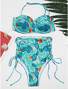 billige Bikinier og damemote 2017-Dame Bikini - Trykt mønster, Cheeky Blad