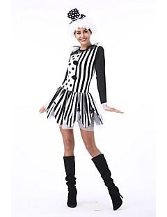billige Voksenkostymer-Burlesk/Klovn Sirkus Kjoler Cosplay Kostumer Party-kostyme Dame Halloween Karneval Festival / høytid Halloween-kostymer Svart Fargeblokk