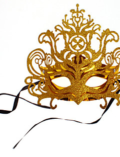 cheap Halloween Masks-Carnival Masquerade Mask Venetian Mask Golden Metal Cosplay Accessories Masquerade