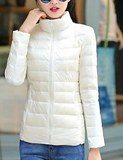 Płaszcz-Damskie Długi Odzież puchowa Na co dzień Codzienny Jendolity kolor-Nylon Biały pierz kaczy Długi rękaw Stójka