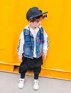 billige Jakker og frakker til drenge-Drenge Vest Daglig Ensfarvet, Bomuld Hør Bambus Fiber Akryl Forår Uden ærmer Simple Vintage Blå