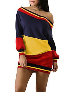 hesapli Mini Elbiseler-Kadın's Kılıf Tişört Elbise - Çizgili Zıt Renkli, Arkasız Kayık Yaka Mini