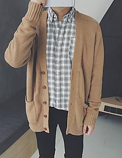 tanie Męskie swetry i swetry rozpinane-Męskie W serek Rozpinany Solid Color Długi rękaw