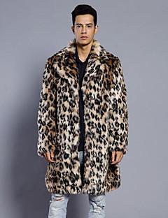 billige Herremote og klær-Fuskepels Lang Pelskanter Langt Erme,V-hals Pelskåpe Leopard Vinter Høst Vintage Fritid Daglig Ut på byen Herre