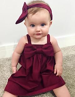 billige Babytøj-Baby Pigens Kjole Daglig Ensfarvet, Bomuld Hør Bambus Fiber Akryl Forår Uden ærmer Simple Rød