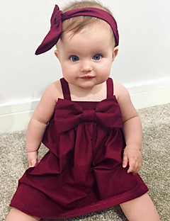 billige Babykjoler-Baby Pigens Kjole Daglig Ensfarvet, Bomuld Hør Bambus Fiber Akryl Forår Uden ærmer Simple Rød