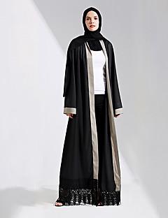 baratos Costumes étnicas e Cultural-Vestido árabe Abaya Vestido Kaftan Mulheres Festival / Celebração Trajes da Noite das Bruxas Roupa Preto Sólido Fashion