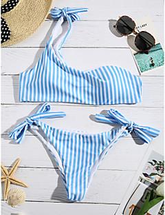 cheap Women's New Ins-Women's Striped Bikini Swimwear Blue