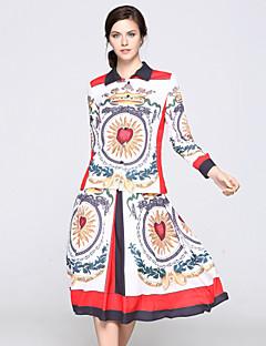 preiswerte Damen zweiteilige Anzüge-Damen Set - Blumen Einfarbig, Druck Hemdkragen Rock