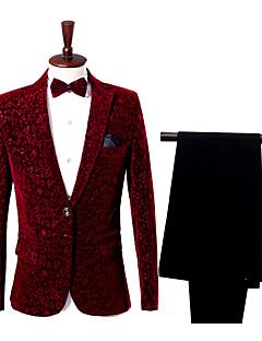 お買い得  スーツ-男性用 スーツ - ストリートファッション ノッチドラペル スリム フラワープリント
