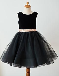 cheap Flower Girl Dresses-Ball Gown Knee Length Flower Girl Dress - Tulle Velvet Sleeveless Scoop Neck with Bow(s) Belt by LAN TING Express