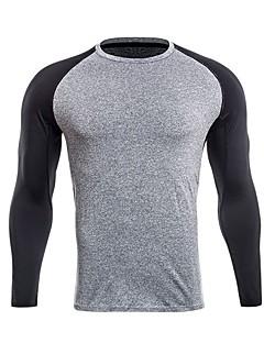 billiga Träning-, jogging- och yogakläder-Herr Lappverk T-shirt för jogging - Grå, Mörkgrå, Grov Svart sporter T-shirt / Collegetröja Långärmad Sportkläder Stretch Elastisk