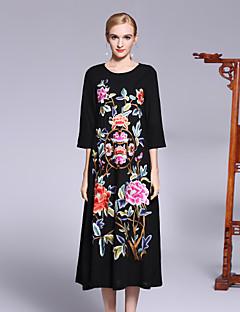 hesapli 8CFAMILY-Kadın's Çin Stili Salaş Elbise - Çiçekli, Çiçekli