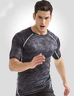 billige Løbetøj-Herre Løbe-T-shirt Sport Toppe - Kortærmet Træning & Fitness, Fritidssport, Udendørs Træning Hurtig Tørre, Åndbarhed Mørkegrå Multi Farve