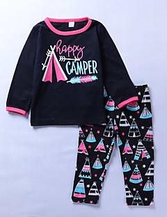 billige Tøjsæt til piger-Pige Tøjsæt Daglig I-byen-tøj Trykt mønster Patchwork, Bomuld Simple Aktiv Sort