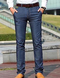 billige Herrebukser og -shorts-Herre Normal Enkel Mikroelastisk Jeans Bukser, Medium Midje Polyester Ensfarget Vår