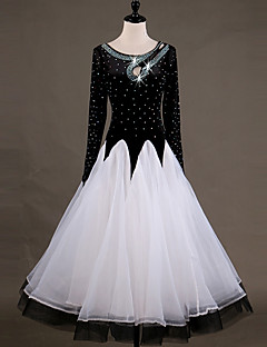 cheap Ballroom Dance Wear-Ballroom Dance Dresses Women's Performance Chinlon Organza Appliques Crystals / Rhinestones Long Sleeves High Dress
