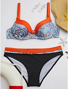 billige Bikinier og damemote 2017-Dame Med stropper Bandeau Bikini - Trykt mønster, Cheeky Geometrisk