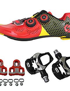 billiga Cykling-SIDEBIKE Cykelskor med pedaler och klossar / Skor för vägcykel Kolfiber Anti-halk, Bärbar Cykelsport Svart / röd / Grön / Svart Herr / Dam