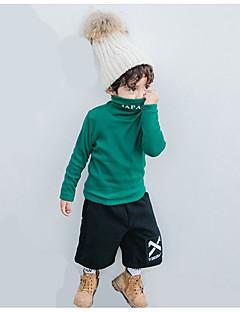 billige Gutteklær-Gutt Daglig T-skjorte Ensfarget Bomull Vår Enkel Hvit Svart Mørkegrå Vin Militærgrønn