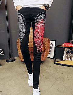 billige Herrebukser og -shorts-Herre Normal Enkel Mikroelastisk Jeans Bukser, Mellomhøyt liv Polyester Geometrisk Vinter