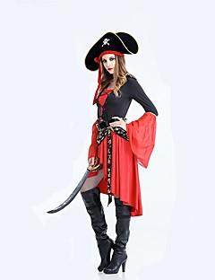 billige Halloweenkostymer-Pirates of the Caribbean Cosplay Kostumer Halloween Karneval Festival / høytid Drakter Rød Ensfarget