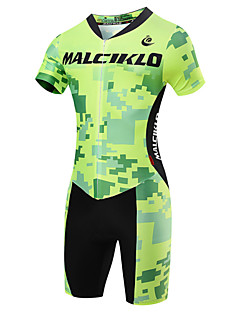 cheap Cycling Clothing-Malciklo Men's Short Sleeves Tri Suit - Light Green British Geometic Bike Quick Dry, Breathable, Spring Summer, Lycra
