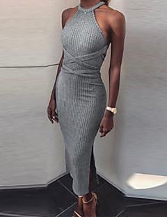 お買い得  マキシドレス-女性用 シース ドレス - バックレス, 純色 マキシ ストラップレス
