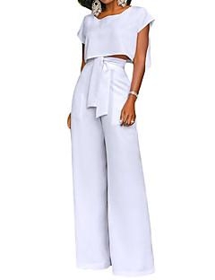 お買い得  レディースツーピースセット-女性用 ショート タンクトップ 純色 ハイウエスト パンツ