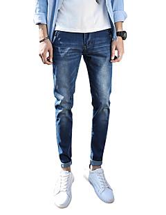 billige Herrebukser og -shorts-Herre Gatemote Store størrelser Bomull Skinny Jeans Bukser Ensfarget