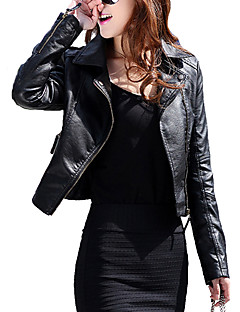 cheap Women's Furs & Leathers-Women's Leather Jacket - Solid Colored Shirt Collar