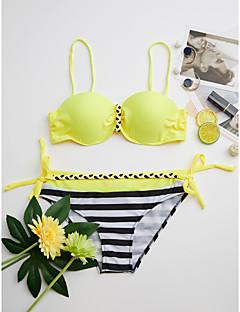 billige Bikinier og damemote 2017-Dame Bohem Med stropper Bandeau Bikini - Grunnleggende, Cheeky Stripet Fargeblokk