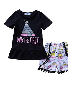 billige Tøjsæt til piger-Pige Tøjsæt I-byen-tøj Ferie Geometrisk Galakse Trykt mønster, Bomuld Forår Sommer Sødt Afslappet Sort