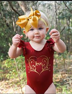 billige Pigetoppe-Pige Bluse I-byen-tøj Ferie Ensfarvet Blomstret Trykt mønster, Bomuld Forår Sommer Kortærmet Simple Sødt Rød