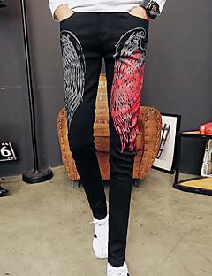 billige Herrebukser og -shorts-Herre Normal Enkel Mikroelastisk Jeans Bukser, Mellomhøyt liv Polyester Geometrisk Vinter Høst