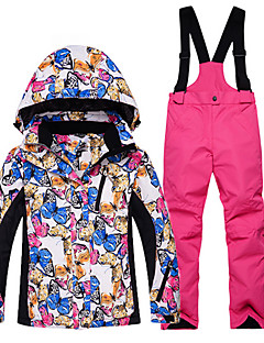 お買い得  スキーウェア-子供用 スキージャケット&パンツ ウォーム 防水 防風 耐久性 通気性 スキー コットン 環境に優しい ポリエステル