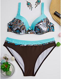 billige Bikinier og damemote-Dame Med stropper Grønn Oransje Gul Bandeau Cheeky Bikini Badetøy - Geometrisk Trykt mønster L XL XXL / Sexy