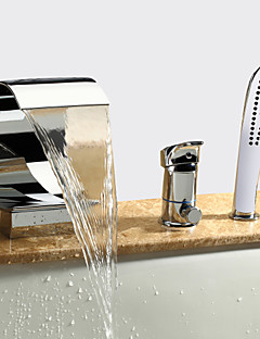 billige Romersk- bad-Moderne Romersk kar Foss Hånddusj Inkludert Keramisk Ventil Tre Huller Enkelt håndtak tre hull Krom, Badekarskran