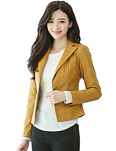 cheap Women's Furs & Leathers-Women's Work Leather Jacket - Solid Colored Shirt Collar