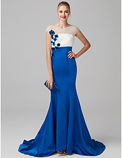 cheap Special Occasion Dresses-Mermaid / Trumpet Illusion Neckline Sweep / Brush Train Satin Tulle Formal Evening Dress with Color Block Flower by TS Couture®
