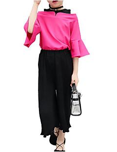 billige Tøjsæt til piger-Pige Tøjsæt Daglig Ferie Ensfarvet, Polyester Sommer Kortærmet Simple Afslappet Hvid Rosa