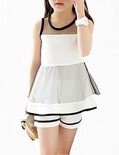billige Tøjsæt til piger-Pige Tøjsæt Daglig Ensfarvet, Polyester Sommer Efterår Uden ærmer Simple Hvid