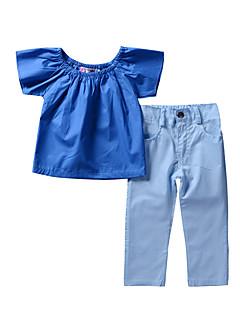 billige Tøjsæt til piger-Pige Tøjsæt I-byen-tøj Ferie Ensfarvet Blomstret, Rayon Polyester Forår Sommer Kortærmet Kineseri Gade Blå