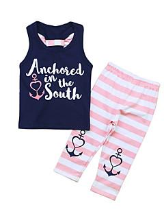 billige Tøjsæt til piger-Pige Daglig Trykt mønster Tøjsæt, Bomuld Polyester Sommer Uden ærmer Sødt Aktiv Navyblå