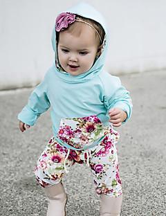 billige Sett med babyklær-Baby Pige Tøjsæt Daglig Blomstret, Bomuld Spandex Forår Sommer Langærmet Aktiv Lyseblå