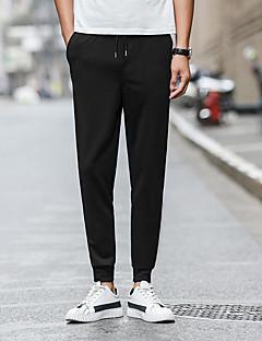 billige Herrebukser og -shorts-menns vanlige midterstige mikro elastiske harem bukser, vintage solid bomull sengetøy bambus fiber akryl våren