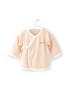 billige Babytøj-Baby Unisex Bluse Daglig Sport Ensfarvet, Bomuld Forår Efterår Langærmet Simple Afslappet Blå Grøn Hvid Lyserød Kakifarvet