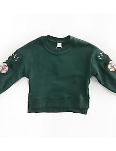 billige Hættetrøjer og sweatshirts til piger-Pige Hættetrøje og sweatshirt Daglig Geometrisk, Polyester Forår Langærmet Simple Grøn Lilla